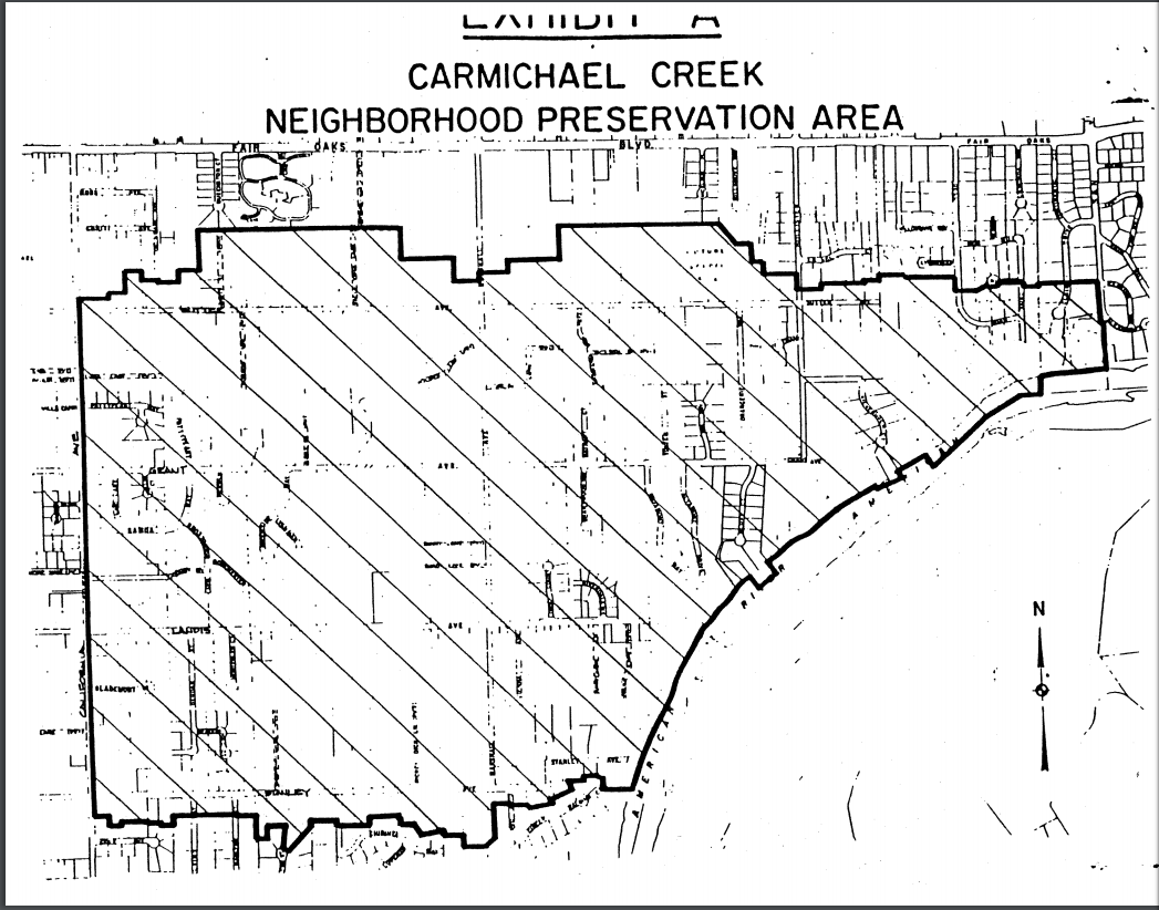 Exhibit A - Map depicting are of the proposed Carmichael Creek Neighborhood Preservation Area